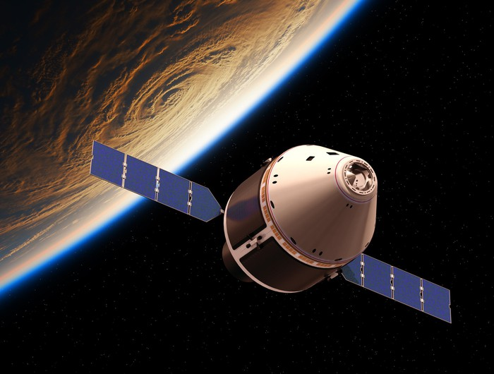 Orion spacecraft over Earth