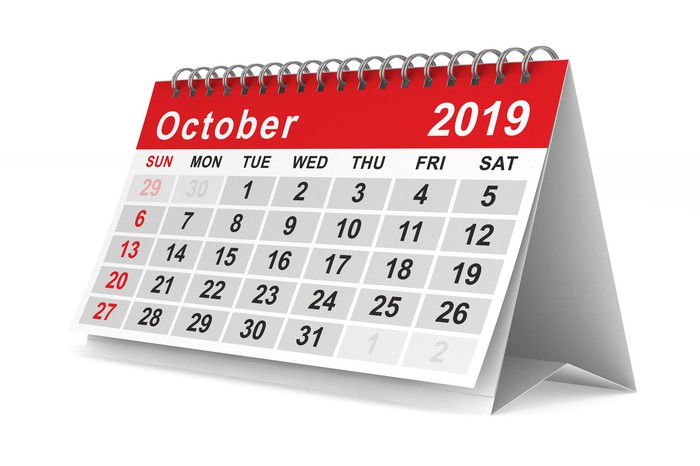 Picture of a calendar turned to the month of October and set against a white background.