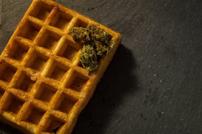 Marijuana buds on a waffle