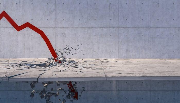 A red down arrow crashing into concrete.