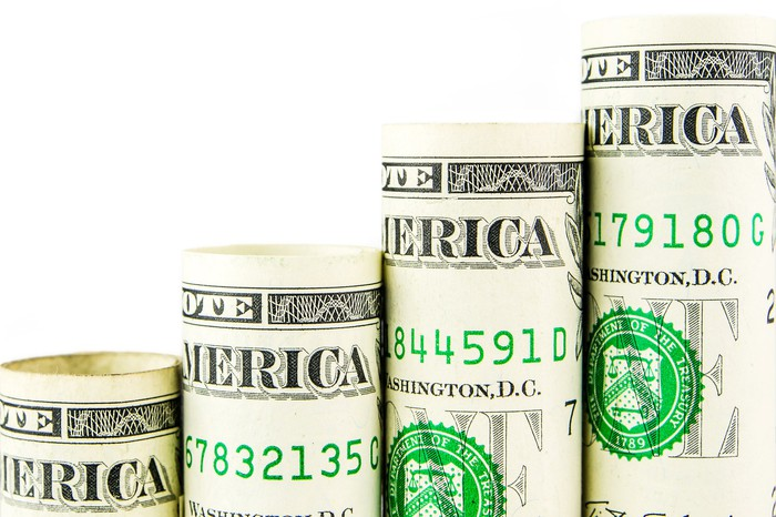 Rolls of dollar bills rising in a stairstep-like fashion.