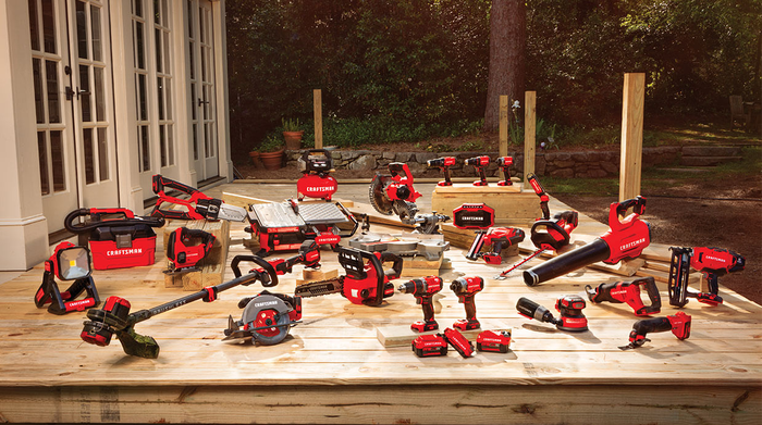 A range of Craftsman tools laid out on a deck