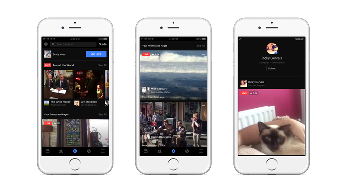 Live video interface on Facebook app displayed on three smartphones