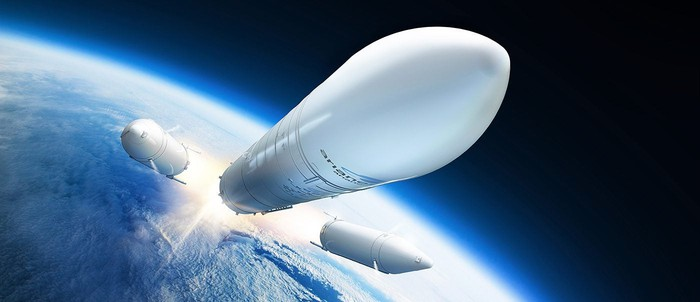 Artist's depiction of Ariane 6 rocket leaving Earth