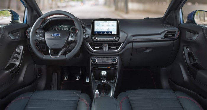 A view of the front seats and dashboard of a 2020 Ford Puma