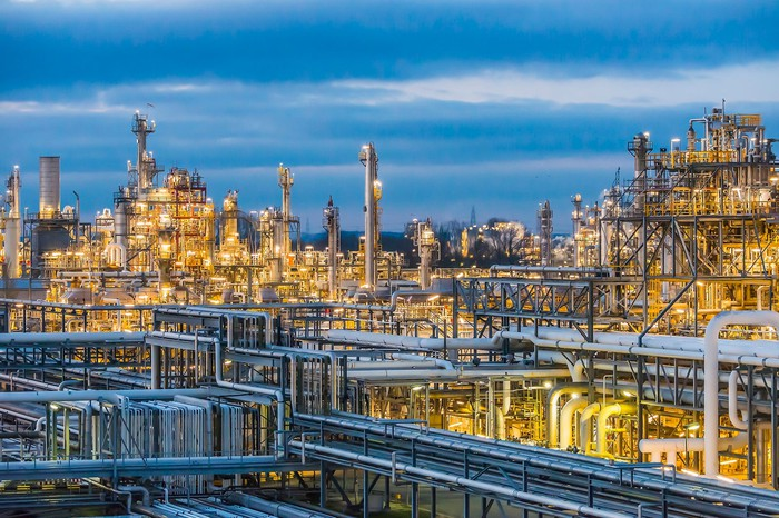 A chemicals plant at night