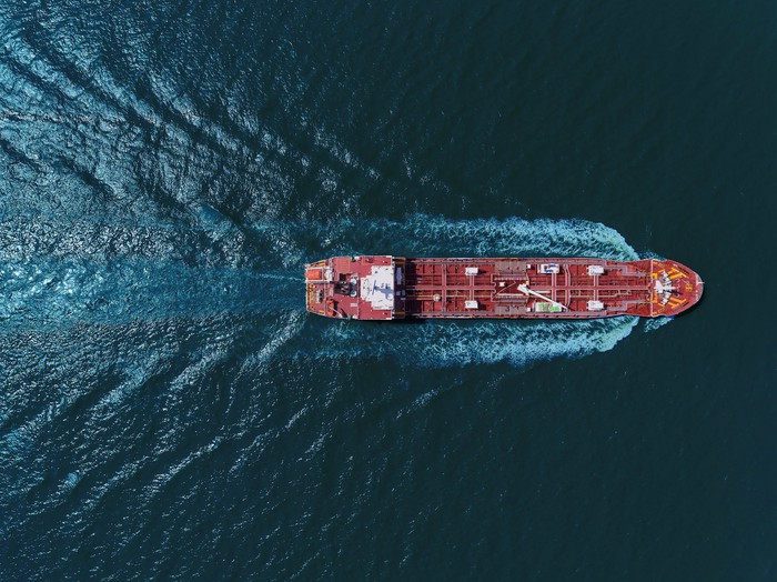 Oil tanker sailing on open water.