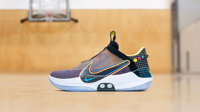A multicolor Nike basketball shoe.