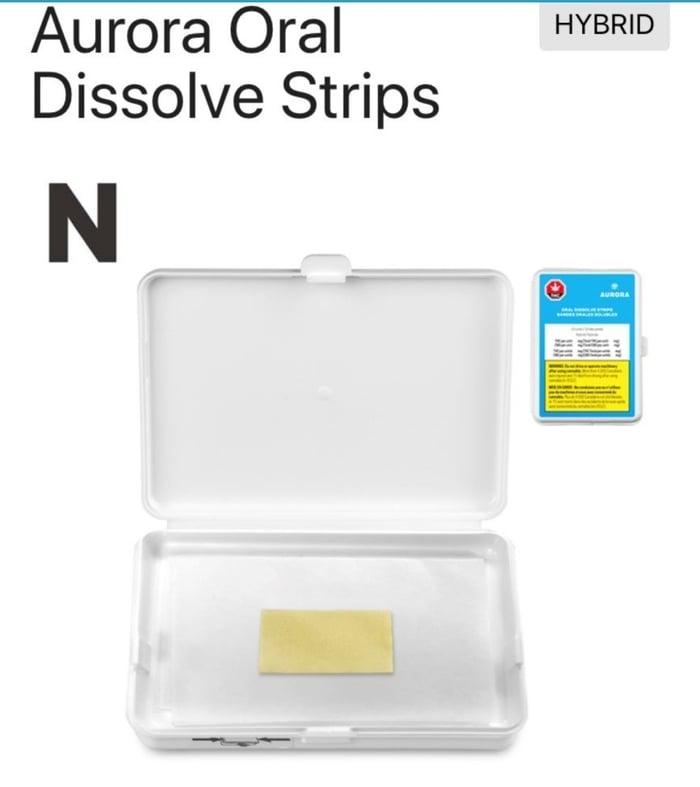 Aurora Cannabis' Dissolve Strips in white packaging.