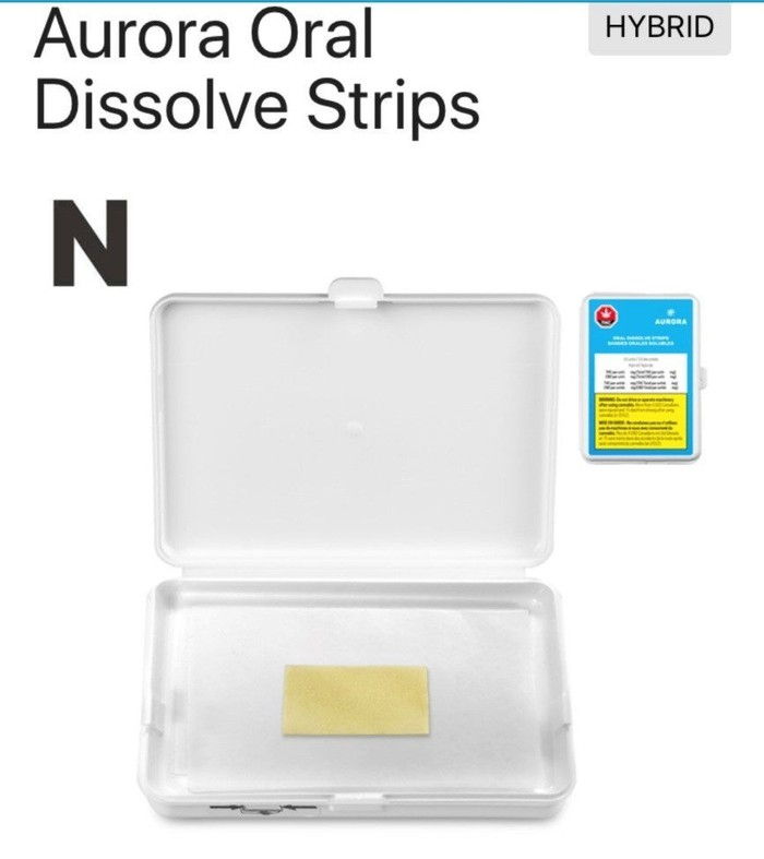 Aurora Cannabis' Dissolve Strips in white packaging.