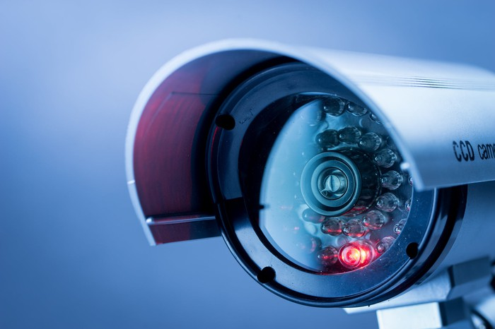 A close-up of a security camera.