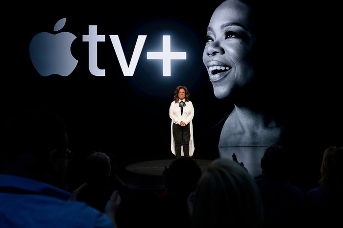 Oprah Winfrey at an Apple TV+ presentation.
