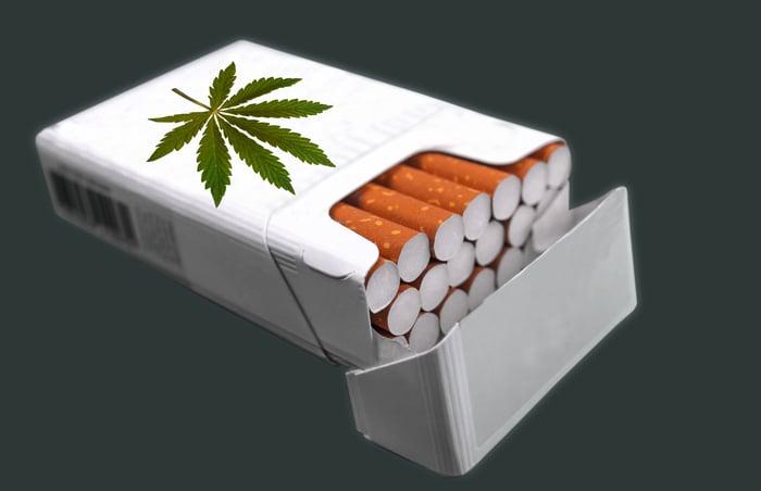Cigarette box with marijuana logo.