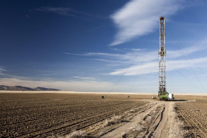 A fracking rig.