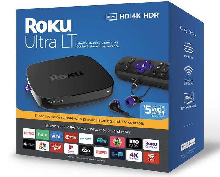 Box with Roku streaming device in it.