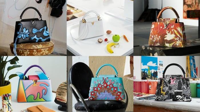 Various Louis Vuitton bags.