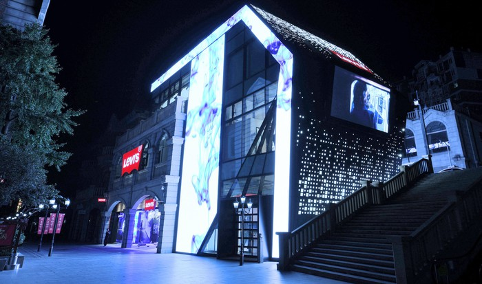 A brightly lit Levi's store in China