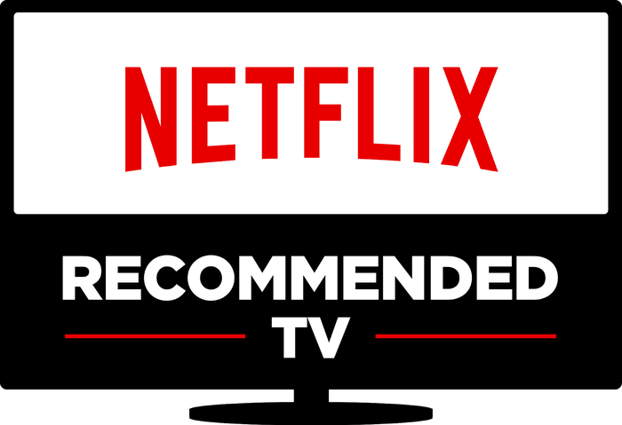 Icon of television, with text reading Netflix recommended TV inside.