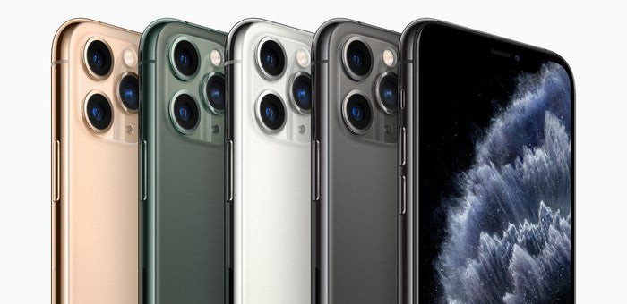 Several iPhone 11 Pro phones in a row