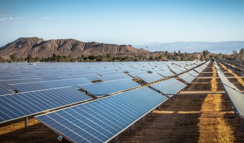 Solar Farm in Desert Mountains