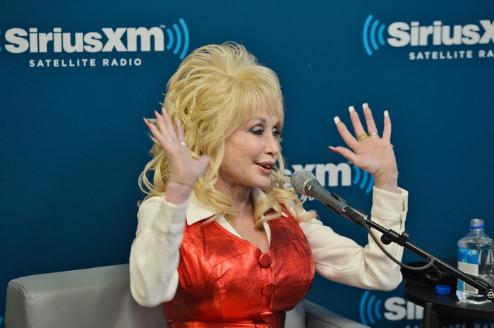 Dolly Parton in a Sirius XM studio.