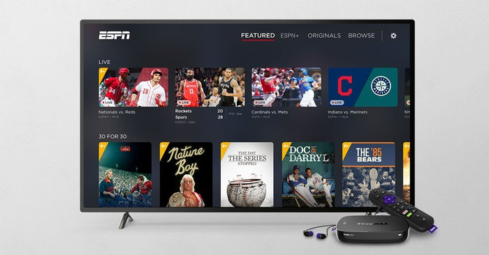 ESPN TV running on a Roku TV operating system.