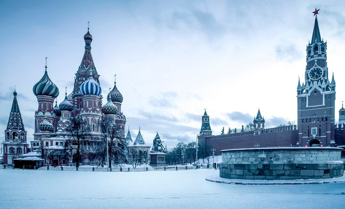 Russian buildings with snow at dawn.
