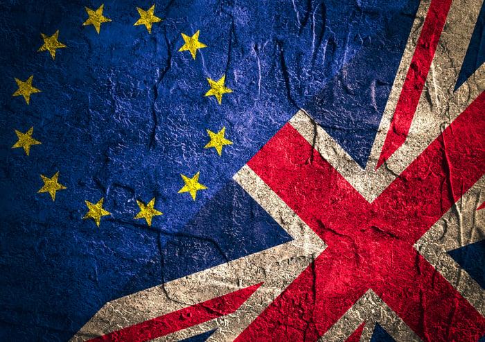 UK and EU flags.