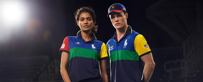 A young man and woman dressed in Ralph Lauren polo shirts.