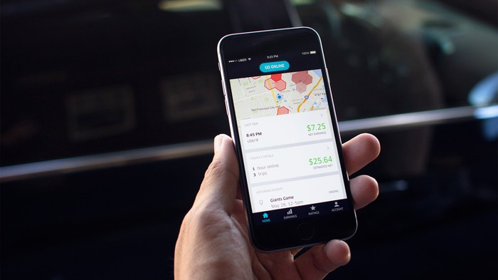 A hand holding up a smartphone with the Uber app open.