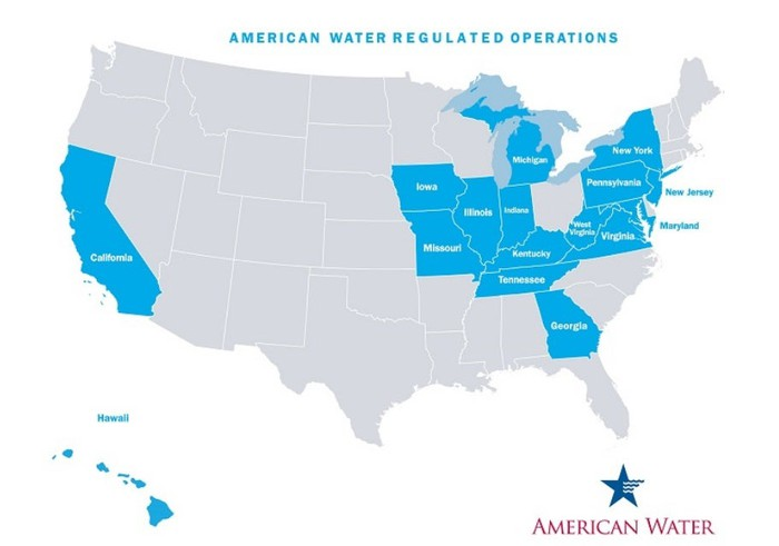 U.S. map showing the 16 states where American Water has regulated operations: AMERICAN WATER HAS REGULATED OPERATIONS IN 16 U.S. STATES: NJ, PA, MO, IL, CA, IN, WV, GA, HI, IA, KY, MD, MI, NY, TN, AND VA.