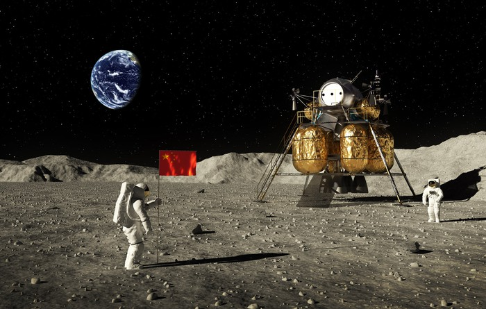 Taikonaut planting Chinese flag on moon with Earth and lunar lander in the background