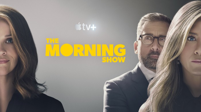 Reese Witherspoon, Jennifer Aniston, and Steve Carell on a poster for The Morning Show.