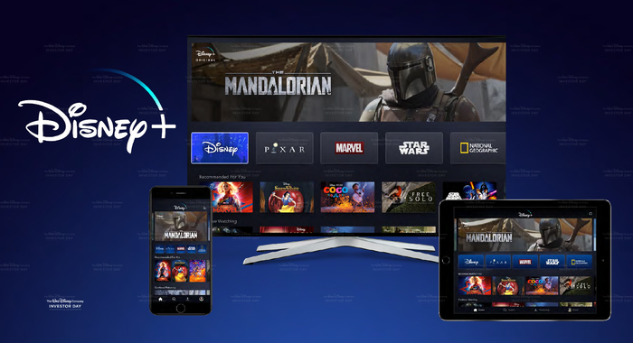 Disney+ original Star Wars The Mandalorian showing on multiple devices.