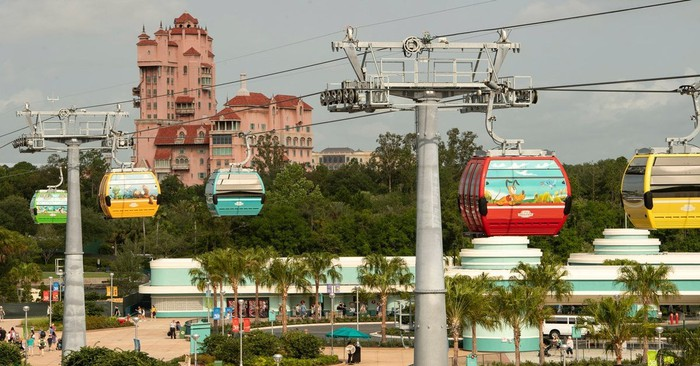 Disney Skyliner system gliding along the system with Disney's Hollywood Studios in the background.