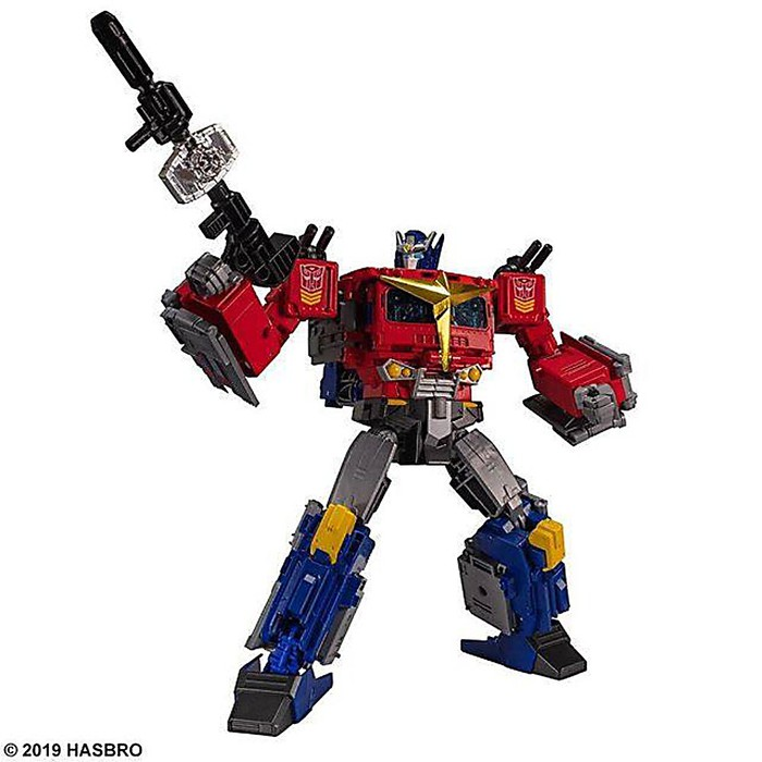 An image of the Hasbro toy Optimus Prime from the Transformers collection.