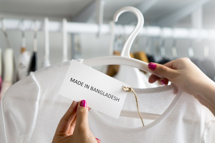 """A shirt with a """"Made in Bangladesh"""" tag."""