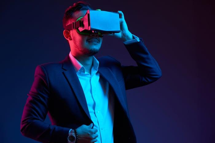 A man wearing a virtual reality headset.