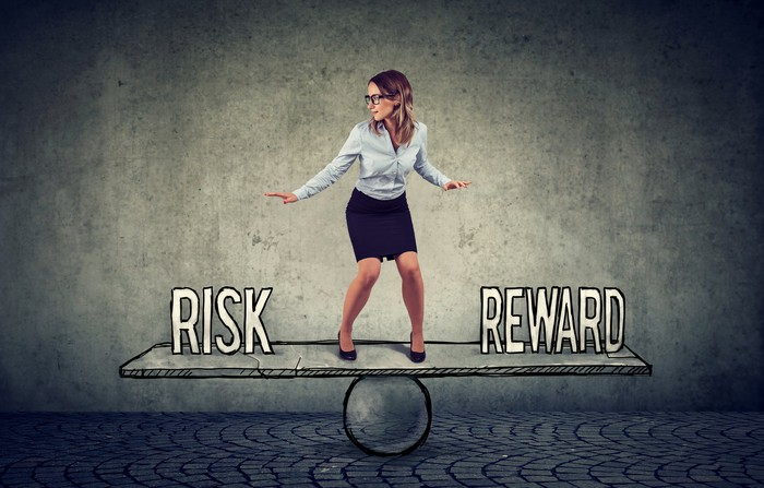 A young woman balances on a teeter board with the words risk and reward on either side.