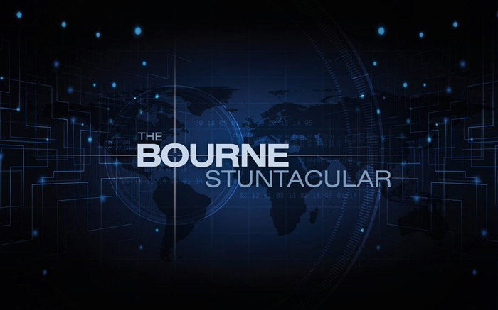 Title screen of The Bourne Stuntacular, the new show coming to Universal Studios Florida next year.