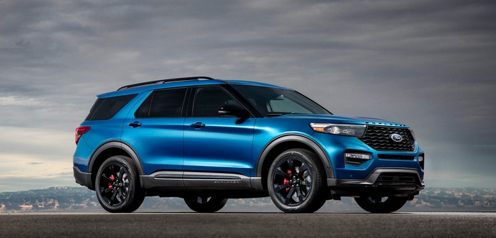 A blue 2020 Ford Explorer ST, a sporty seven-passenger crossover SUV