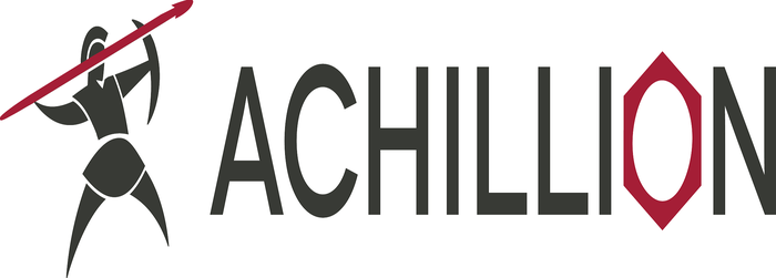 Achillion logo of gladiator throwing a spear.