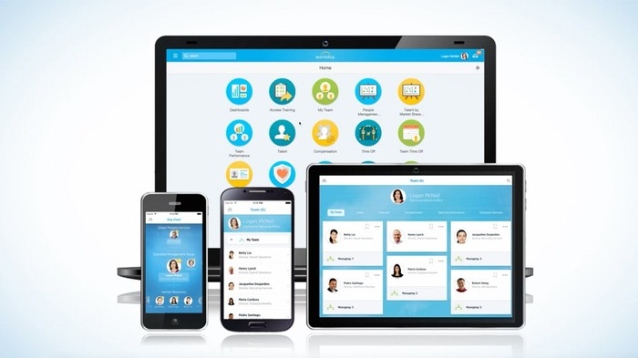 Workday HCM software running on multiple devices including a laptop, tablet, and smartphones.
