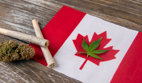 Canada Flag Cannabis Bud Joint Weed Pot Marijuana Legal Getty