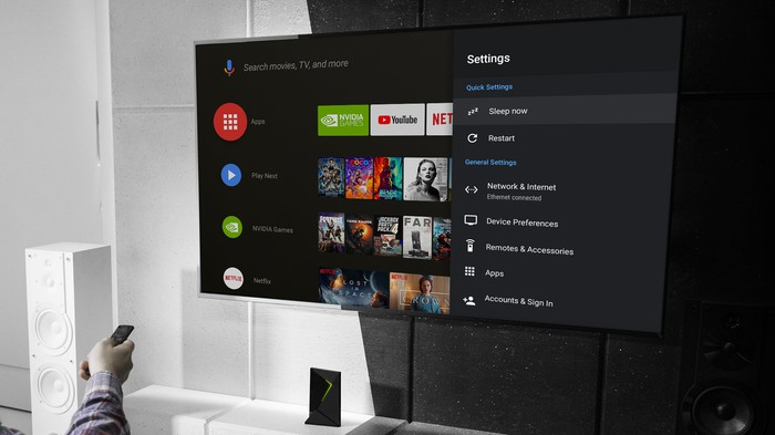 Person watching streaming video on an NVIDIA Shield device