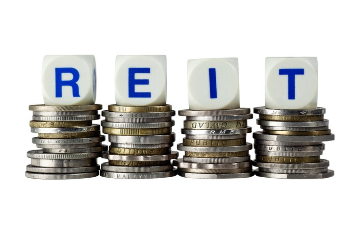 The acronym REIT spelled on dice sitting atop stacks of coins