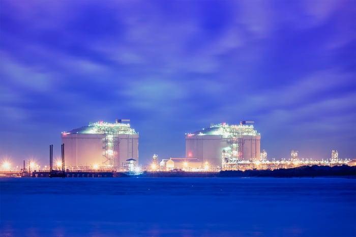 LNG facility at night.