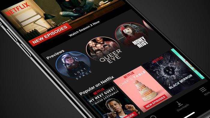 Netflix app interface displayed on a smartphone screen
