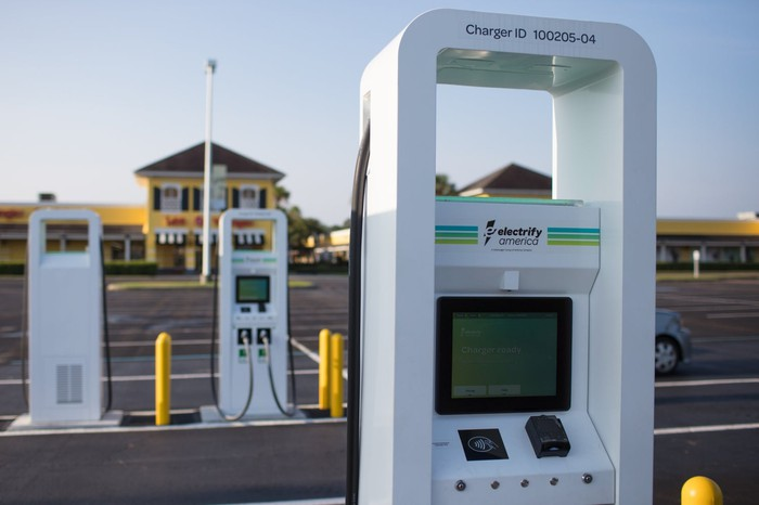 Electrify America electric-vehicle chargers in a parking lot.