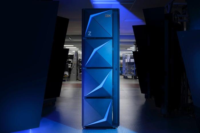 The z15 mainframe system.